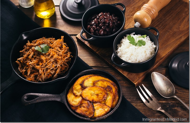 Pabellon, Latin American food, mechada meat, white rice, fried plantain and black beans