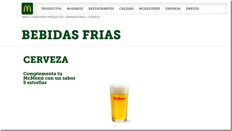 Cerveza en Mc Donalds España